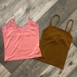 Forever 21 Pink & Tan Cropped Tank Tops Small